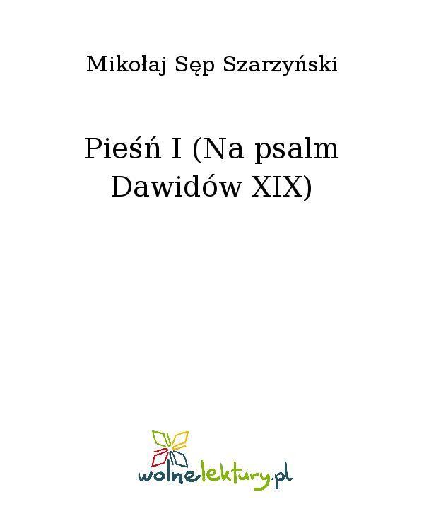 Pieśń I (Na psalm Dawidów XIX) - Ebook (Książka EPUB) do pobrania w formacie EPUB