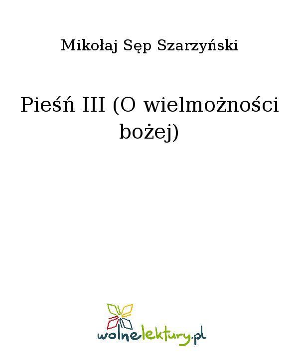 Pieśń III (O wielmożności bożej) - Ebook (Książka EPUB) do pobrania w formacie EPUB