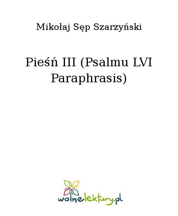 Pieśń III (Psalmu LVI Paraphrasis) - Ebook (Książka EPUB) do pobrania w formacie EPUB