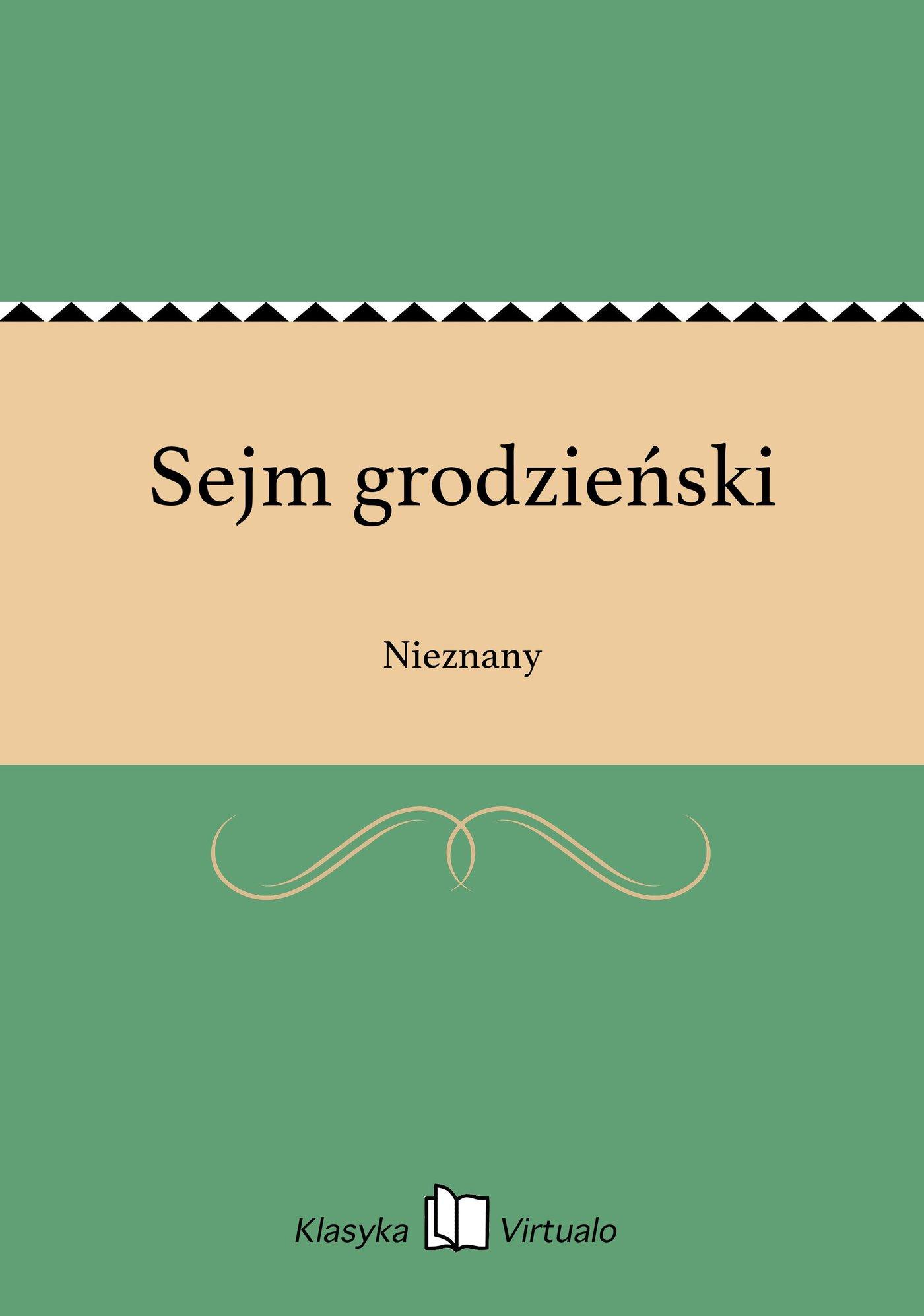 Sejm grodzieński - Ebook (Książka EPUB) do pobrania w formacie EPUB
