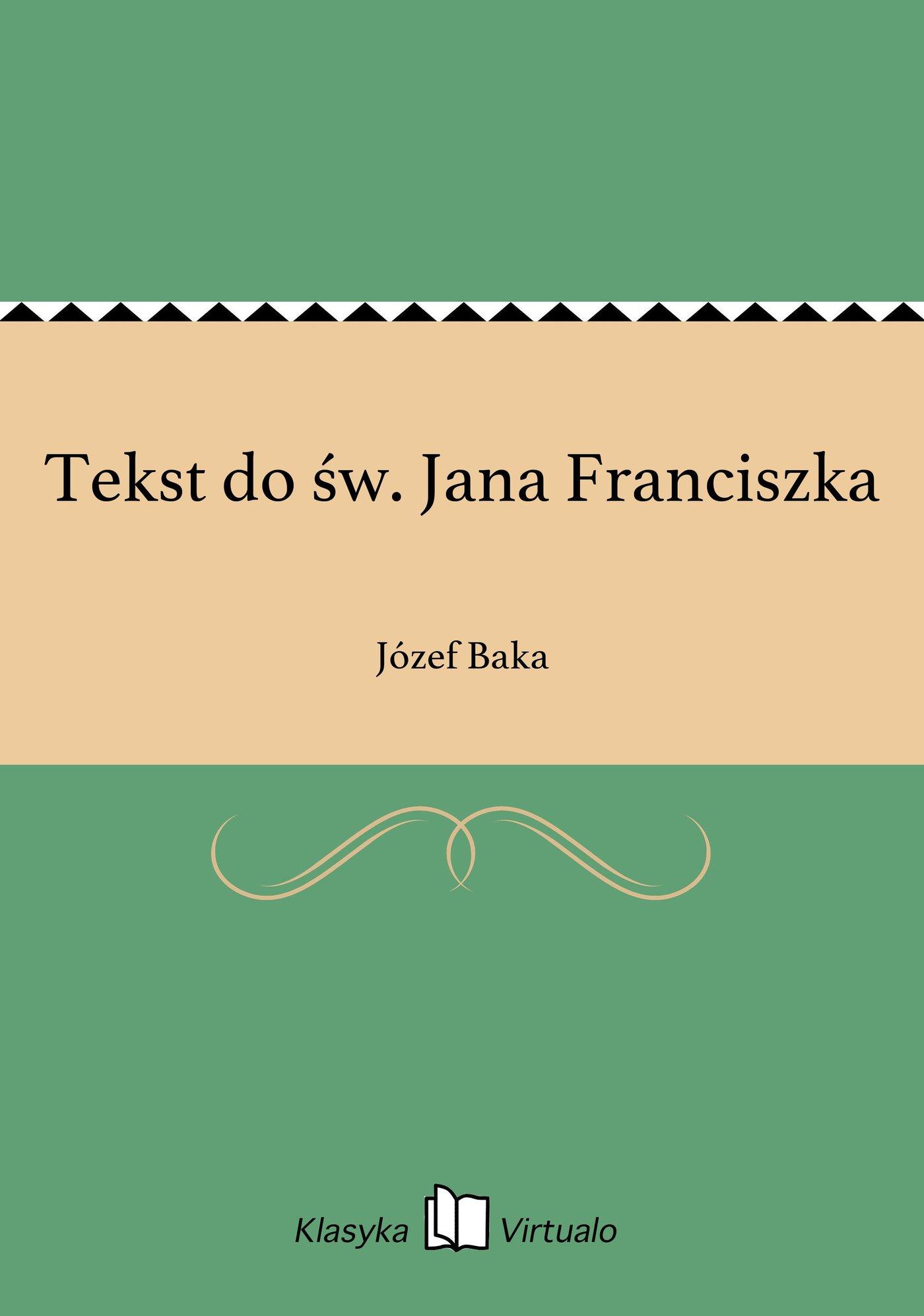 Tekst do św. Jana Franciszka - Ebook (Książka EPUB) do pobrania w formacie EPUB