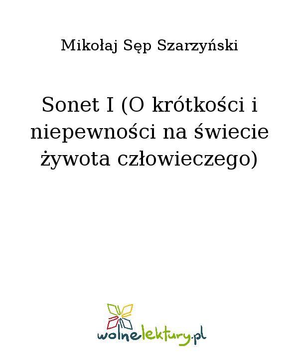 Sonet I (O krótkości i niepewności na świecie żywota człowieczego) - Ebook (Książka EPUB) do pobrania w formacie EPUB
