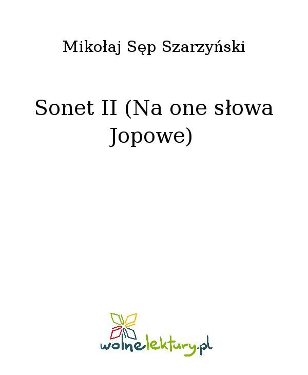 Sonet II (Na one słowa Jopowe) - Ebook (Książka EPUB) do pobrania w formacie EPUB
