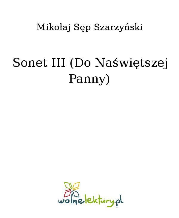 Sonet III (Do Naświętszej Panny) - Ebook (Książka EPUB) do pobrania w formacie EPUB