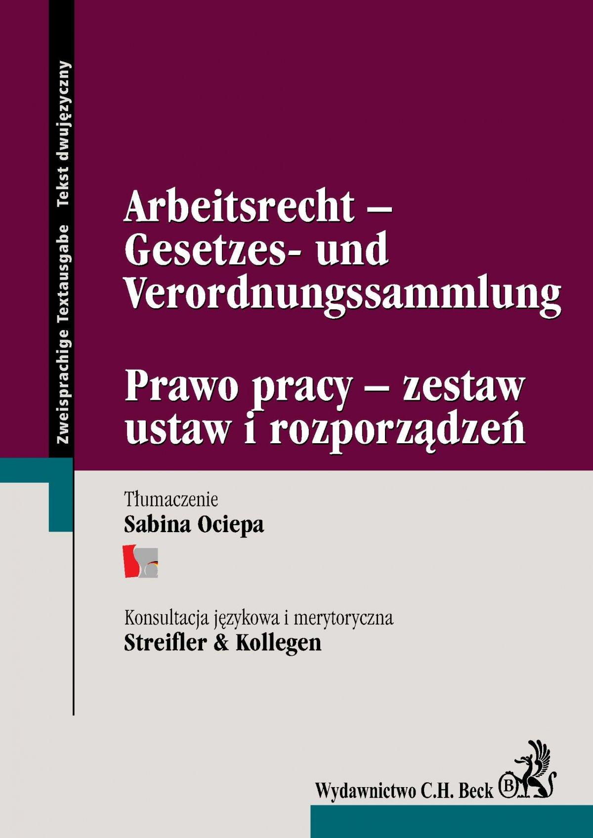 Arbeitsrecht -Gesetzes- und Verordnungssammlung Prawo pracy - zestaw ustaw i rozporządzeń - Ebook (Książka PDF) do pobrania w formacie PDF