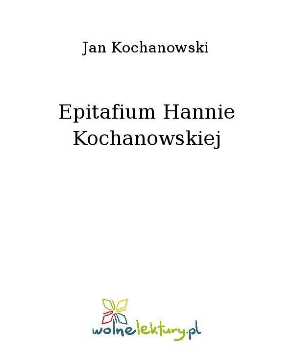 Epitafium Hannie Kochanowskiej - Ebook (Książka na Kindle) do pobrania w formacie MOBI