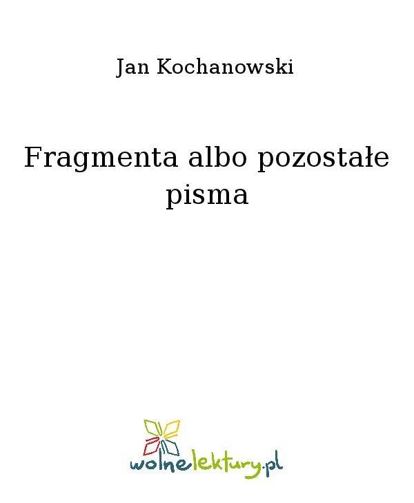 Fragmenta albo pozostałe pisma - Ebook (Książka na Kindle) do pobrania w formacie MOBI