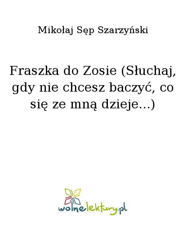 Fraszka do Zosie (Słuchaj, gdy nie chcesz baczyć, co się ze mną dzieje...) - Ebook (Książka na Kindle) do pobrania w formacie MOBI