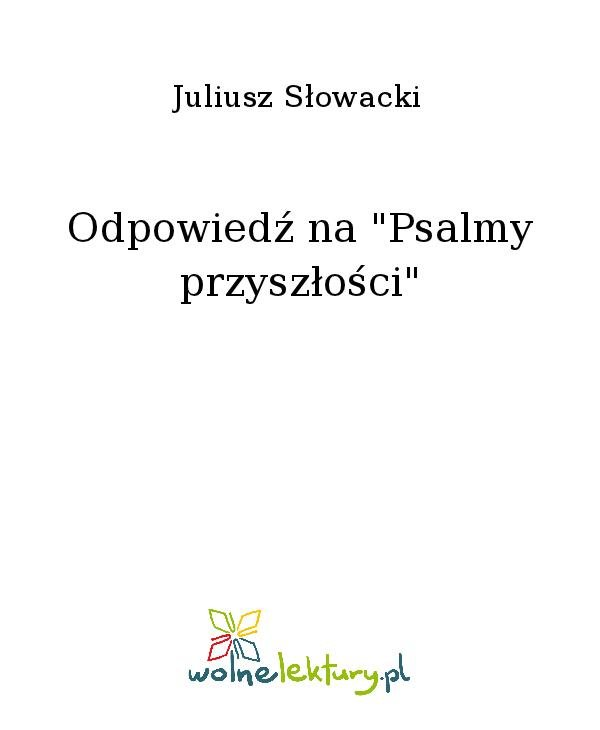 """Odpowiedź na """"Psalmy przyszłości"""" - Ebook (Książka na Kindle) do pobrania w formacie MOBI"""