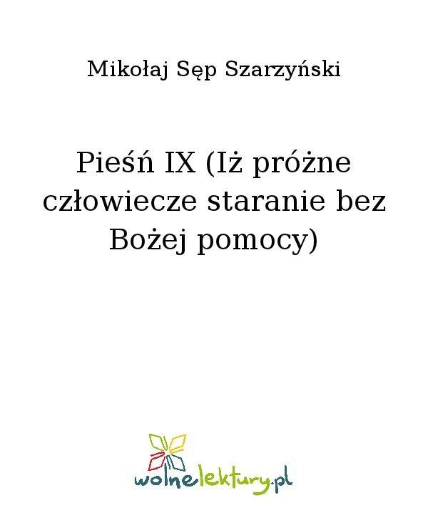 Pieśń IX (Iż próżne człowiecze staranie bez Bożej pomocy) - Ebook (Książka na Kindle) do pobrania w formacie MOBI