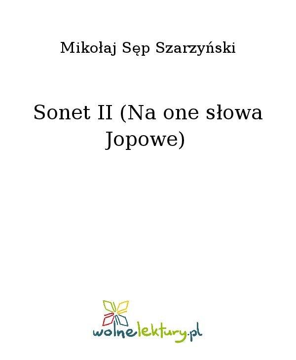 Sonet II (Na one słowa Jopowe) - Ebook (Książka na Kindle) do pobrania w formacie MOBI