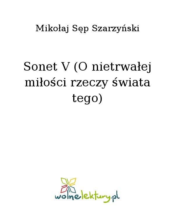 Sonet V (O nietrwałej miłości rzeczy świata tego) - Ebook (Książka na Kindle) do pobrania w formacie MOBI
