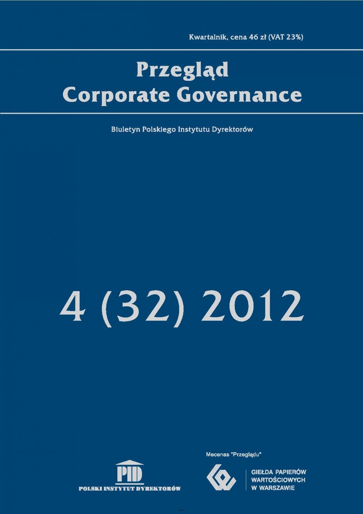Przegląd Corporate Governance 4 (32) 2012 - Ebook (Książka PDF) do pobrania w formacie PDF