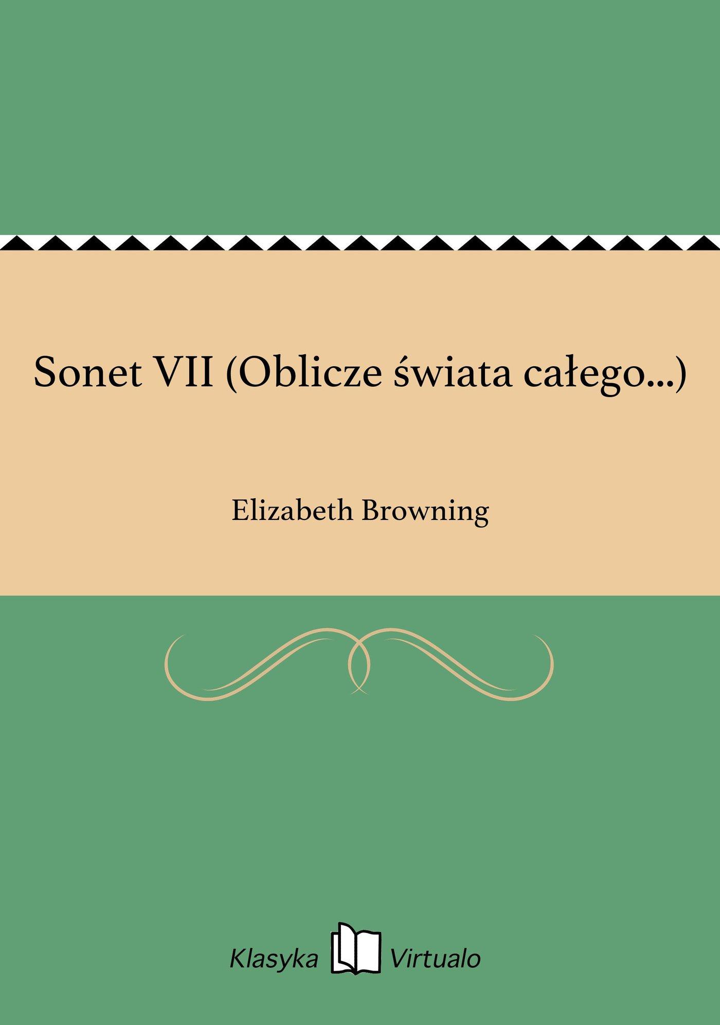 Sonet VII (Oblicze świata całego...) - Ebook (Książka na Kindle) do pobrania w formacie MOBI