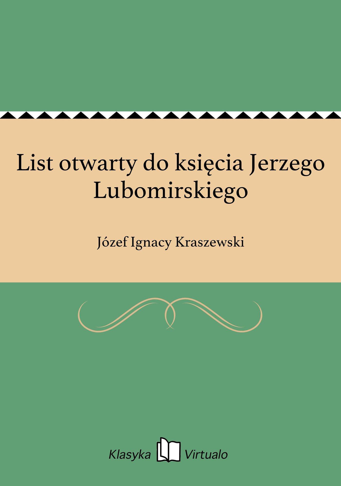 List otwarty do księcia Jerzego Lubomirskiego - Ebook (Książka na Kindle) do pobrania w formacie MOBI