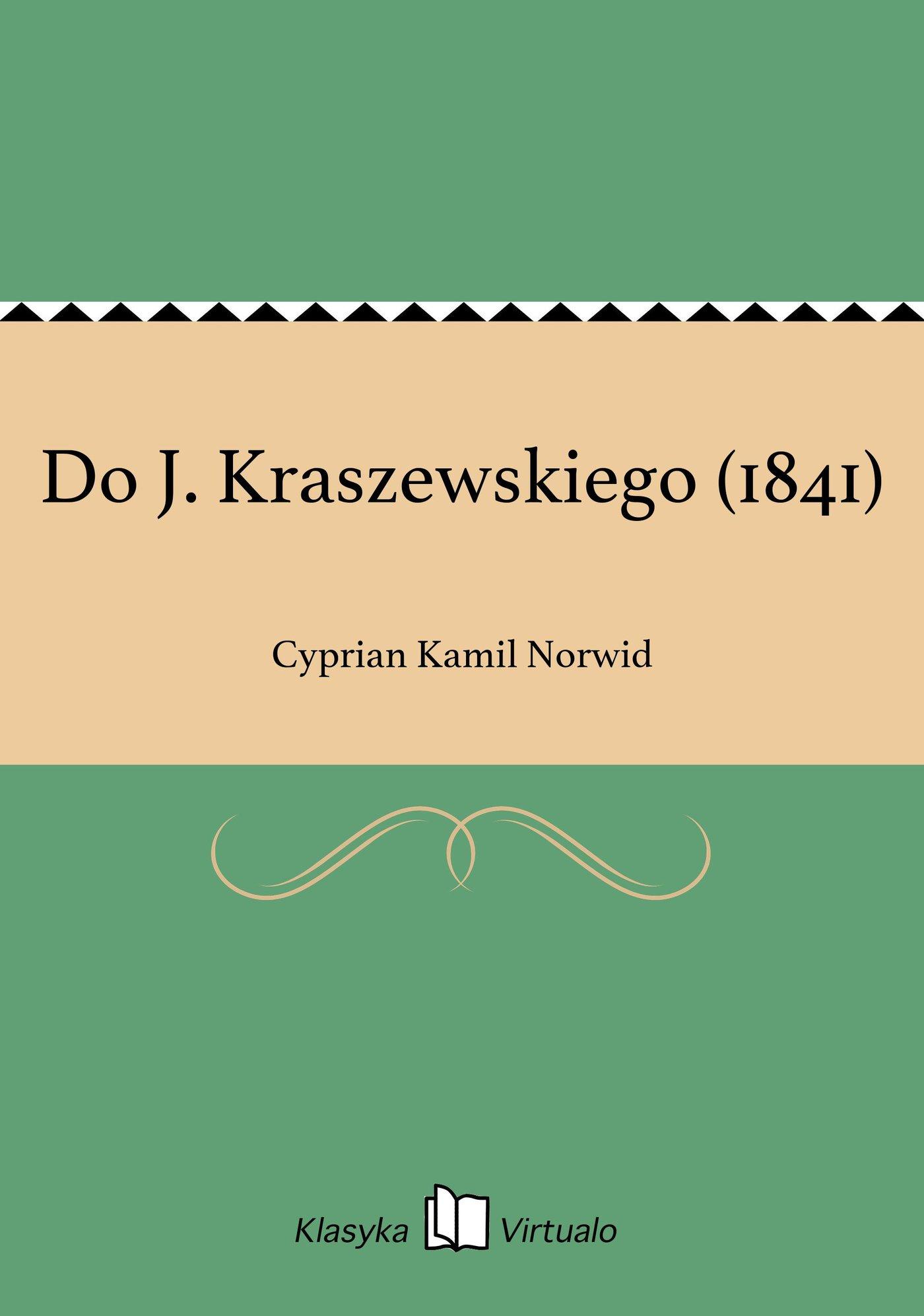 Do J. Kraszewskiego (1841) - Ebook (Książka na Kindle) do pobrania w formacie MOBI