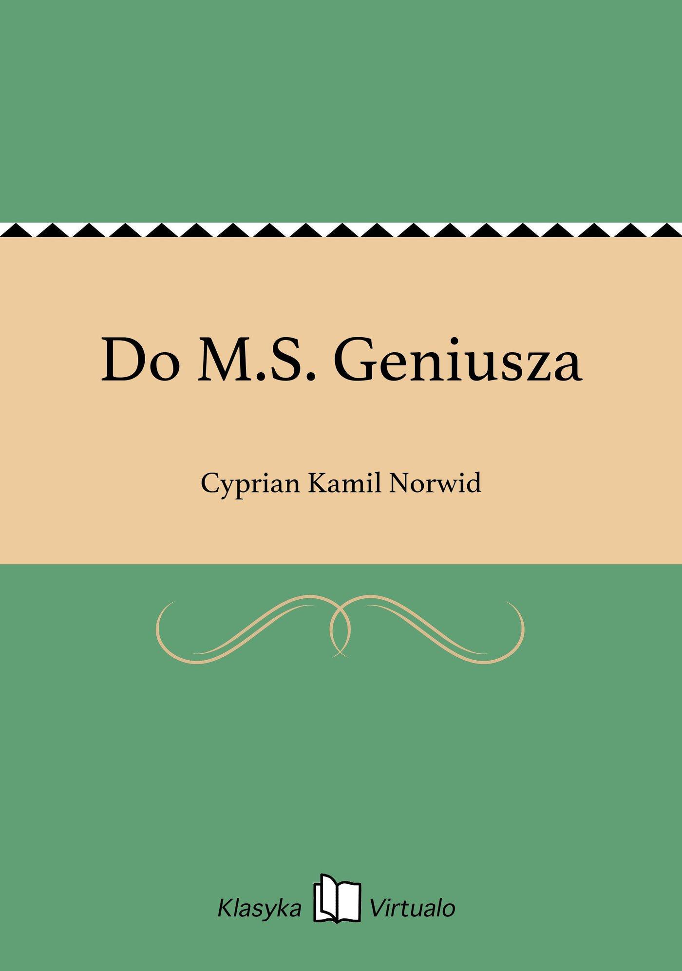 Do M.S. Geniusza - Ebook (Książka na Kindle) do pobrania w formacie MOBI