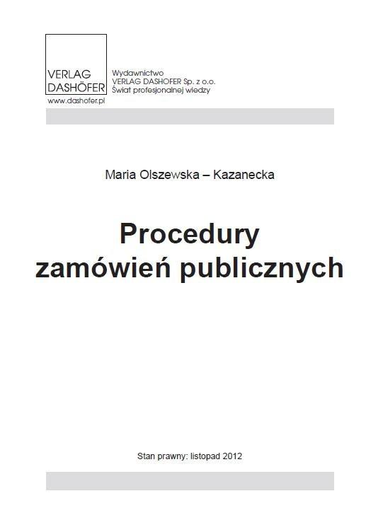 Procedury zamówień publicznych - Ebook (Książka PDF) do pobrania w formacie PDF