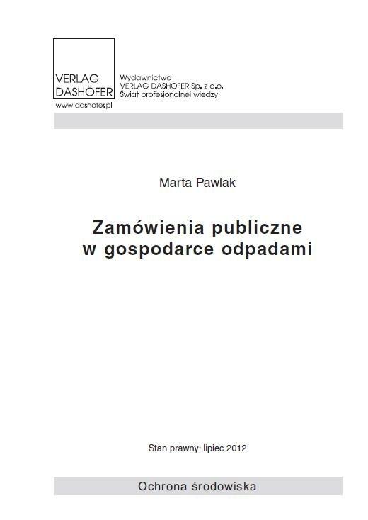 Zamówienia publiczne w gospodarce odpadami - Ebook (Książka PDF) do pobrania w formacie PDF