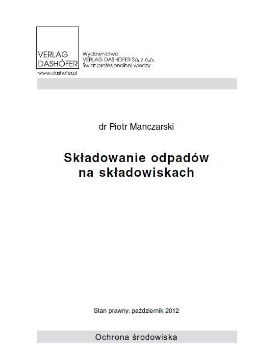 Składowanie odpadów na składowiskach - Ebook (Książka PDF) do pobrania w formacie PDF