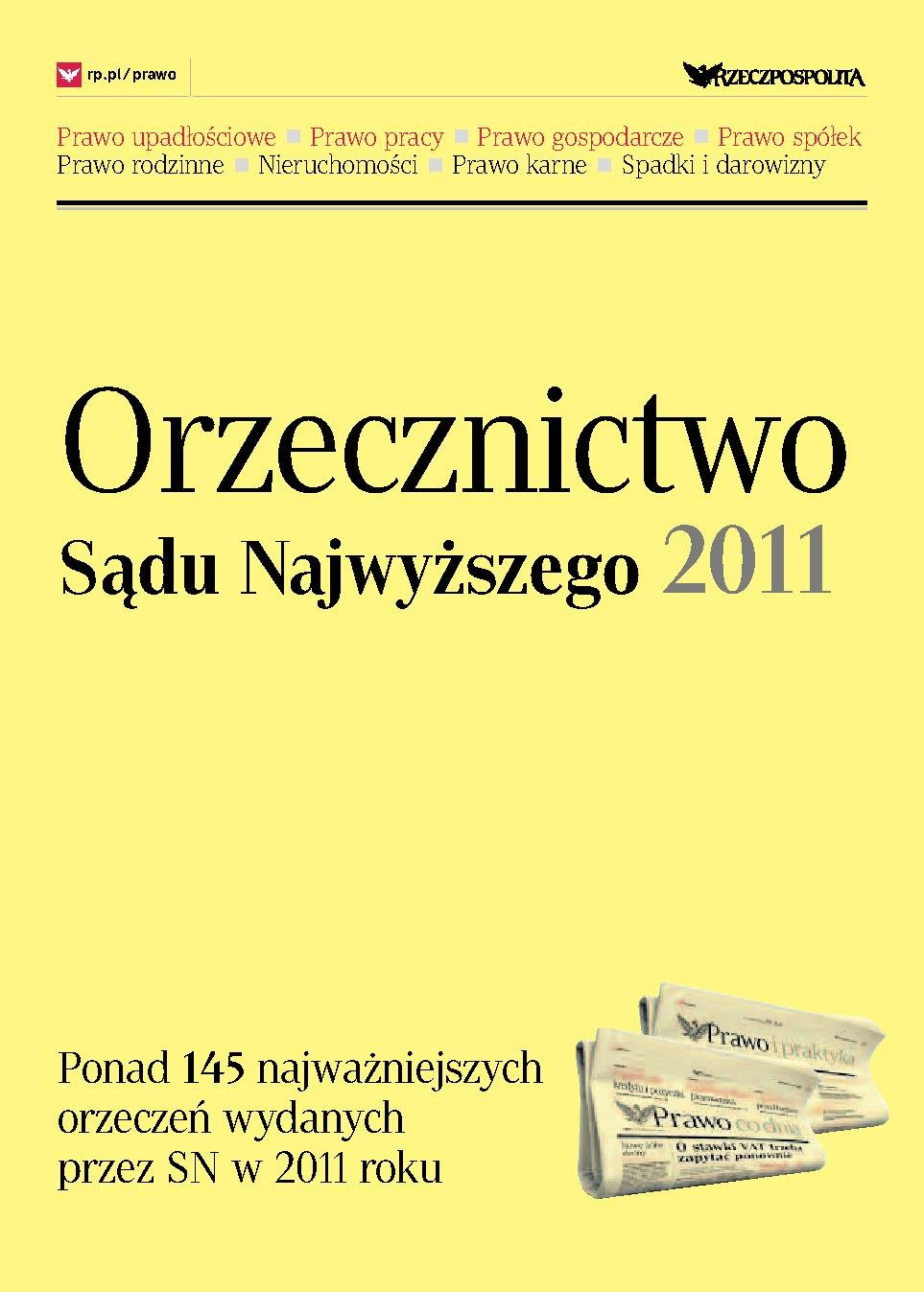 Orzecznictwo Sądu Najwyższego 2011 - Ebook (Książka PDF) do pobrania w formacie PDF