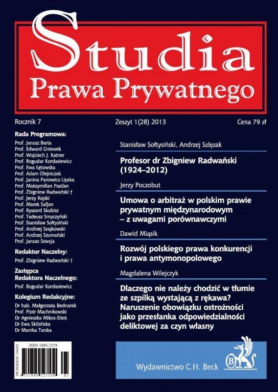 Studia Prawa Prywatnego. Zeszyt 1/2013 - Ebook (Książka PDF) do pobrania w formacie PDF