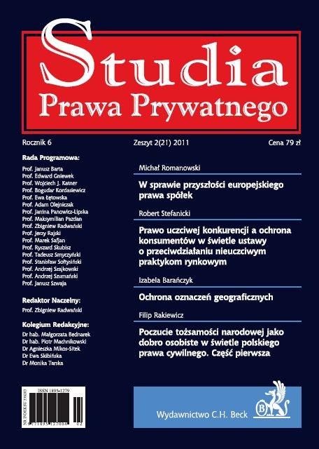 Studia Prawa Prywatnego. Zeszyt 2/2011 - Ebook (Książka PDF) do pobrania w formacie PDF