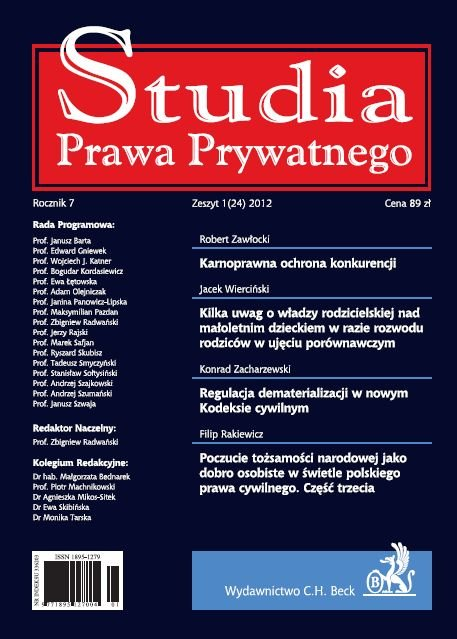 Studia Prawa Prywatnego. Zeszyt 1/2012 - Ebook (Książka PDF) do pobrania w formacie PDF
