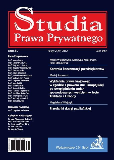 Studia Prawa Prywatnego. Zeszyt 2/2012 - Ebook (Książka PDF) do pobrania w formacie PDF