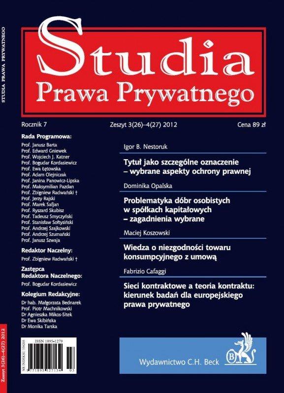 Studia Prawa Prywatnego. Zeszyt 3-4/2012 - Ebook (Książka PDF) do pobrania w formacie PDF
