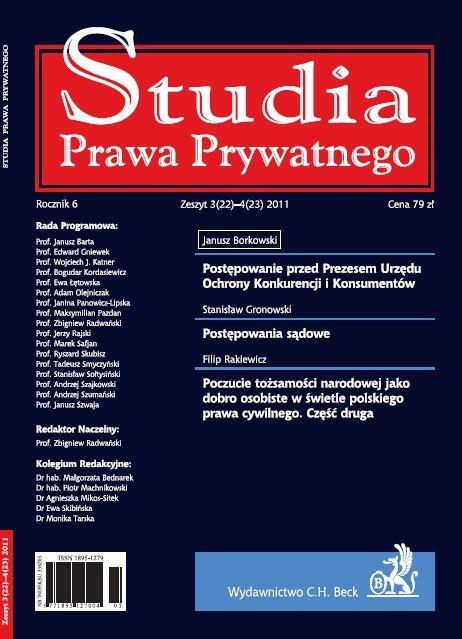 Studia Prawa Prywatnego. Zeszyt 3-4/2011 - Ebook (Książka PDF) do pobrania w formacie PDF