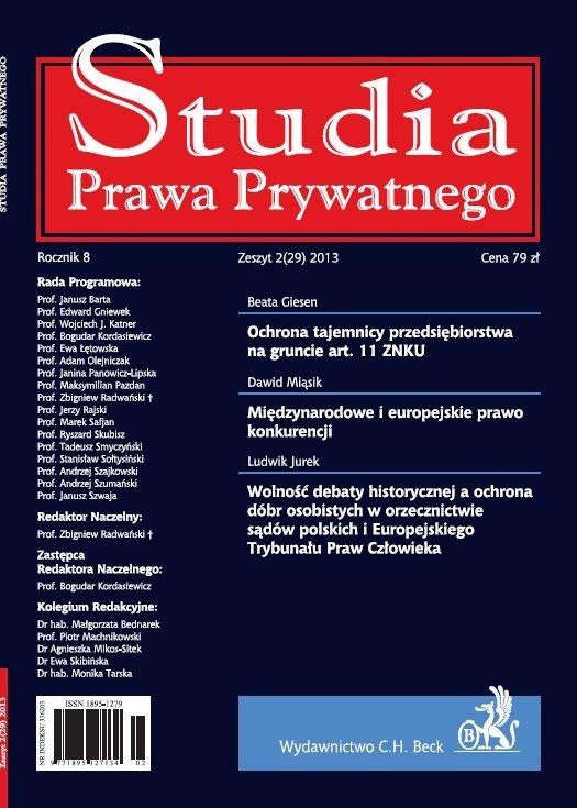 Studia Prawa Prywatnego. Zeszyt 2/2013 - Ebook (Książka PDF) do pobrania w formacie PDF