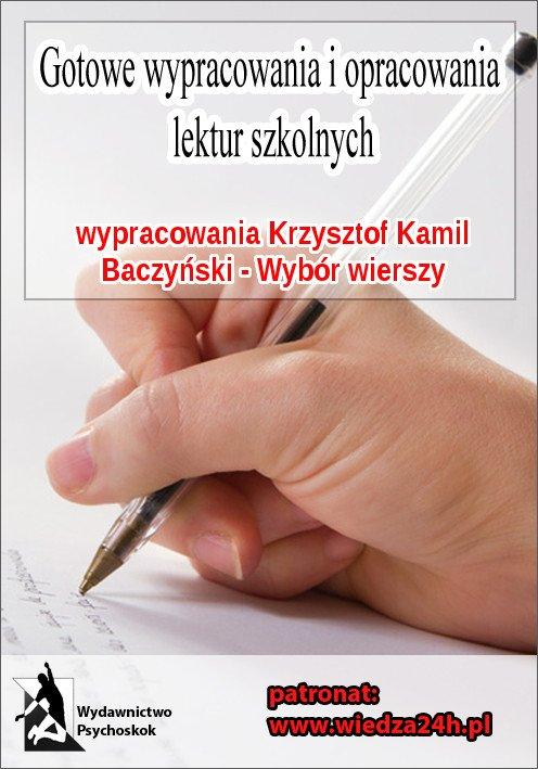 """Wypracowania - Krzysztof Kamil Baczyński   """"Wybór wierszy"""" - Ebook (Książka na Kindle) do pobrania w formacie MOBI"""
