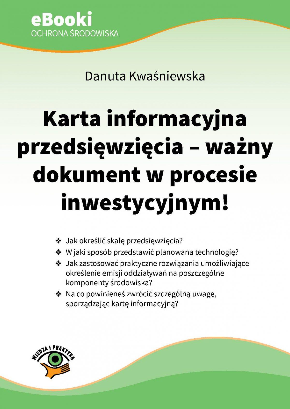 Karta informacyjna przedsięwzięcia - ważny dokument w procesie inwestycyjnym - Ebook (Książka PDF) do pobrania w formacie PDF