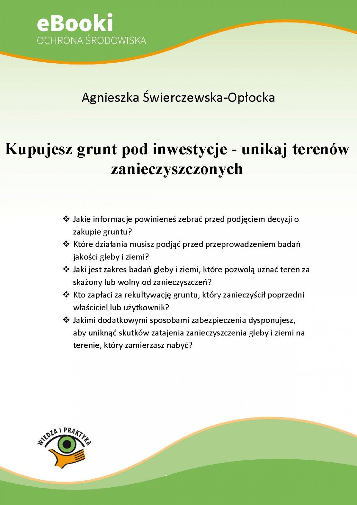 Kupujesz grunt pod inwestycje - unikaj terenów zanieczyszczonych - Ebook (Książka PDF) do pobrania w formacie PDF