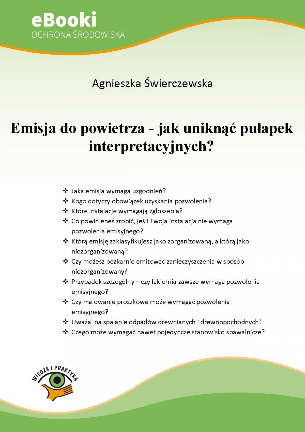 Emisja do powietrza - jak uniknąć pułapek interpretacyjnych? - Ebook (Książka PDF) do pobrania w formacie PDF