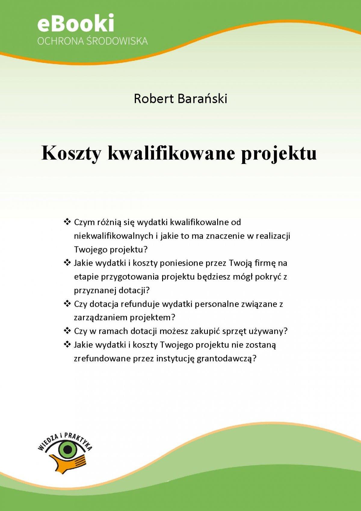 Koszty kwalifikowane projektu - Ebook (Książka PDF) do pobrania w formacie PDF