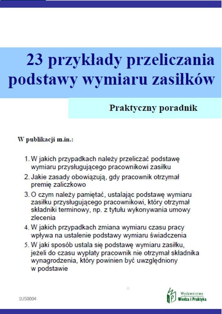 23 przykłady przeliczania podstawy wymiaru zasiłków - Ebook (Książka PDF) do pobrania w formacie PDF