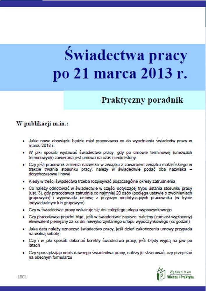 Świadectwa pracy po umowach terminowych od 21 marca 2013 r. - Ebook (Książka PDF) do pobrania w formacie PDF