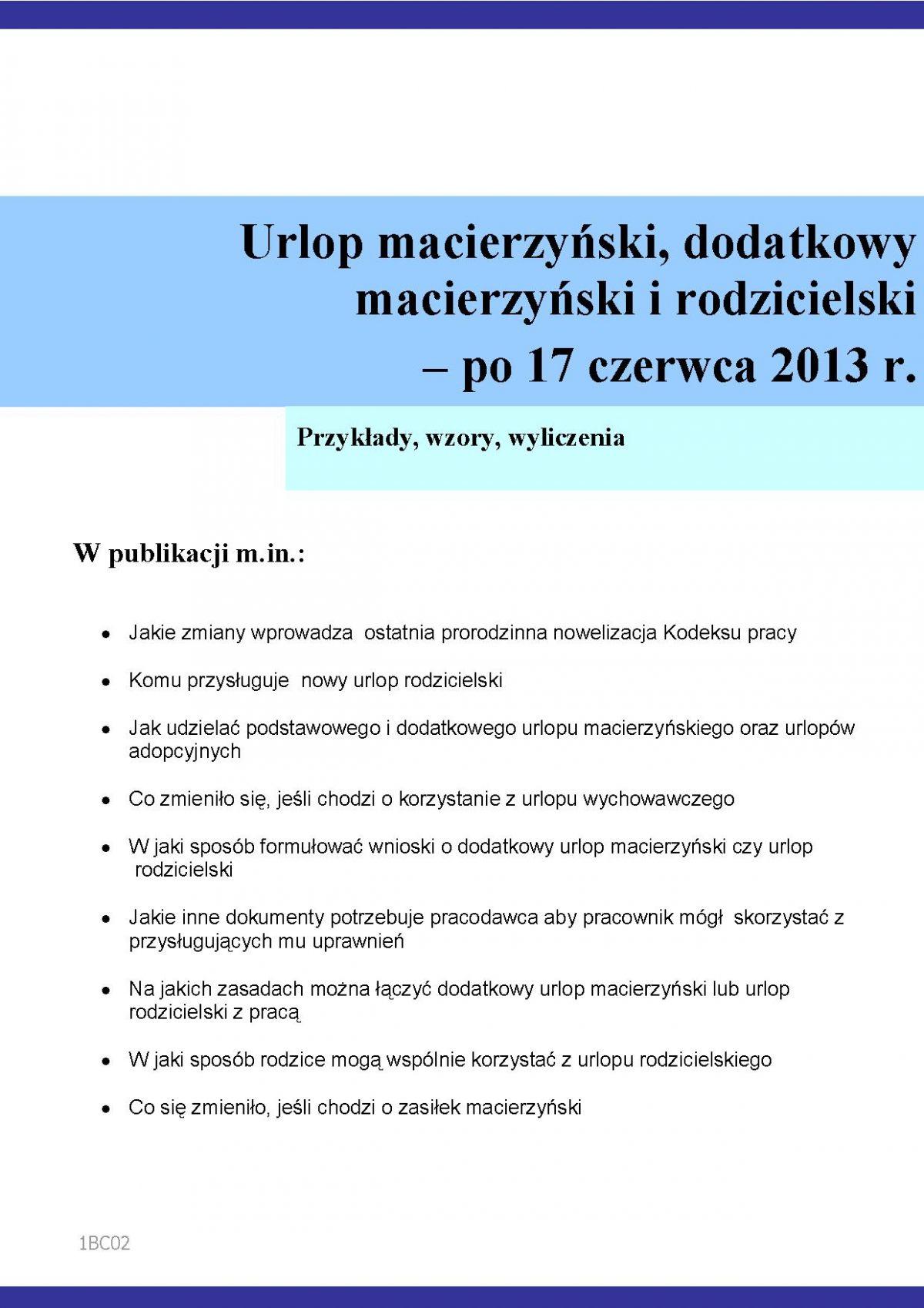 Urlop macierzyński, dodatkowy macierzyński i rodzicielski – po 17 czerwca 2013 r. - Ebook (Książka PDF) do pobrania w formacie PDF