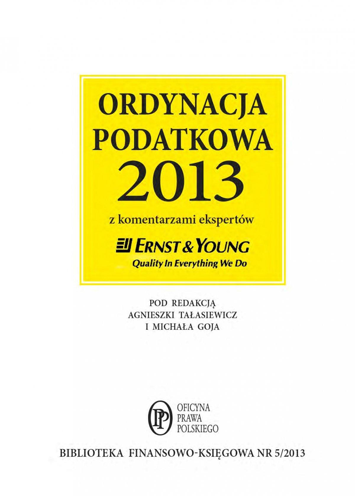 Ordynacja podatkowa 2013 wraz z komentarzem ekspertów Ernst & Young - Ebook (Książka EPUB) do pobrania w formacie EPUB