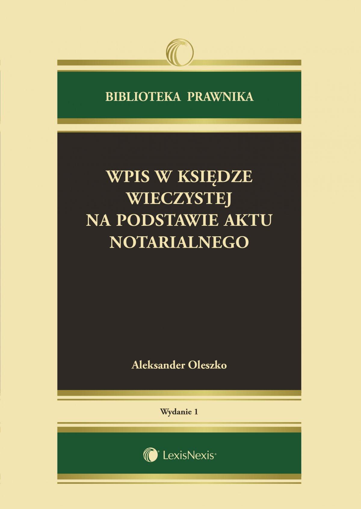Wpis w księdze wieczystej na podstawie aktu notarialnego - Ebook (Książka EPUB) do pobrania w formacie EPUB
