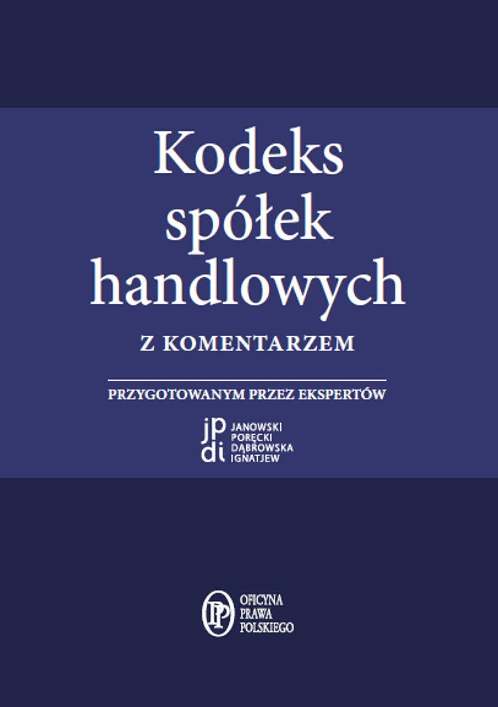 Kodeks spółek handlowych z komentarzem - Ebook (Książka PDF) do pobrania w formacie PDF