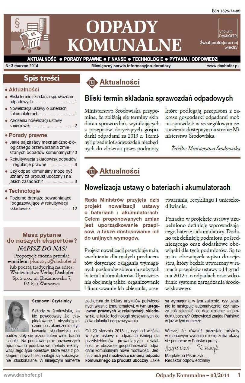 Odpady komunalne. Nr 3/2014 - Ebook (Książka PDF) do pobrania w formacie PDF