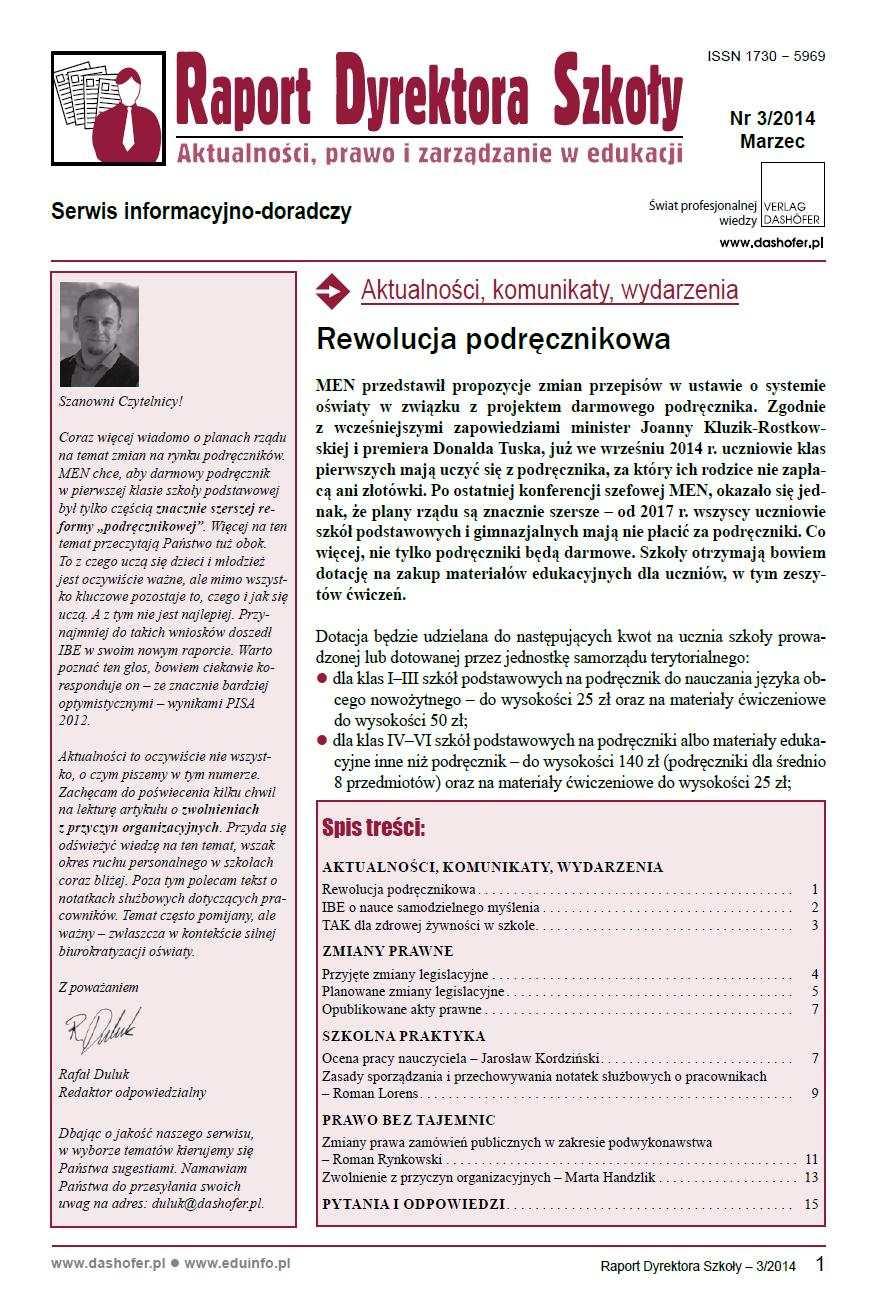 Raport Dyrektora Szkoły. Aktualności, prawo i zarządzanie w edukacji. Nr 3/2014 - Ebook (Książka PDF) do pobrania w formacie PDF