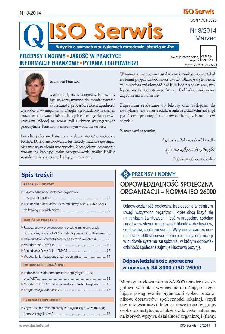 ISO Serwis. Wszystko o normach i systemach zarządzania jakością. Nr 3/2014 - Ebook (Książka PDF) do pobrania w formacie PDF