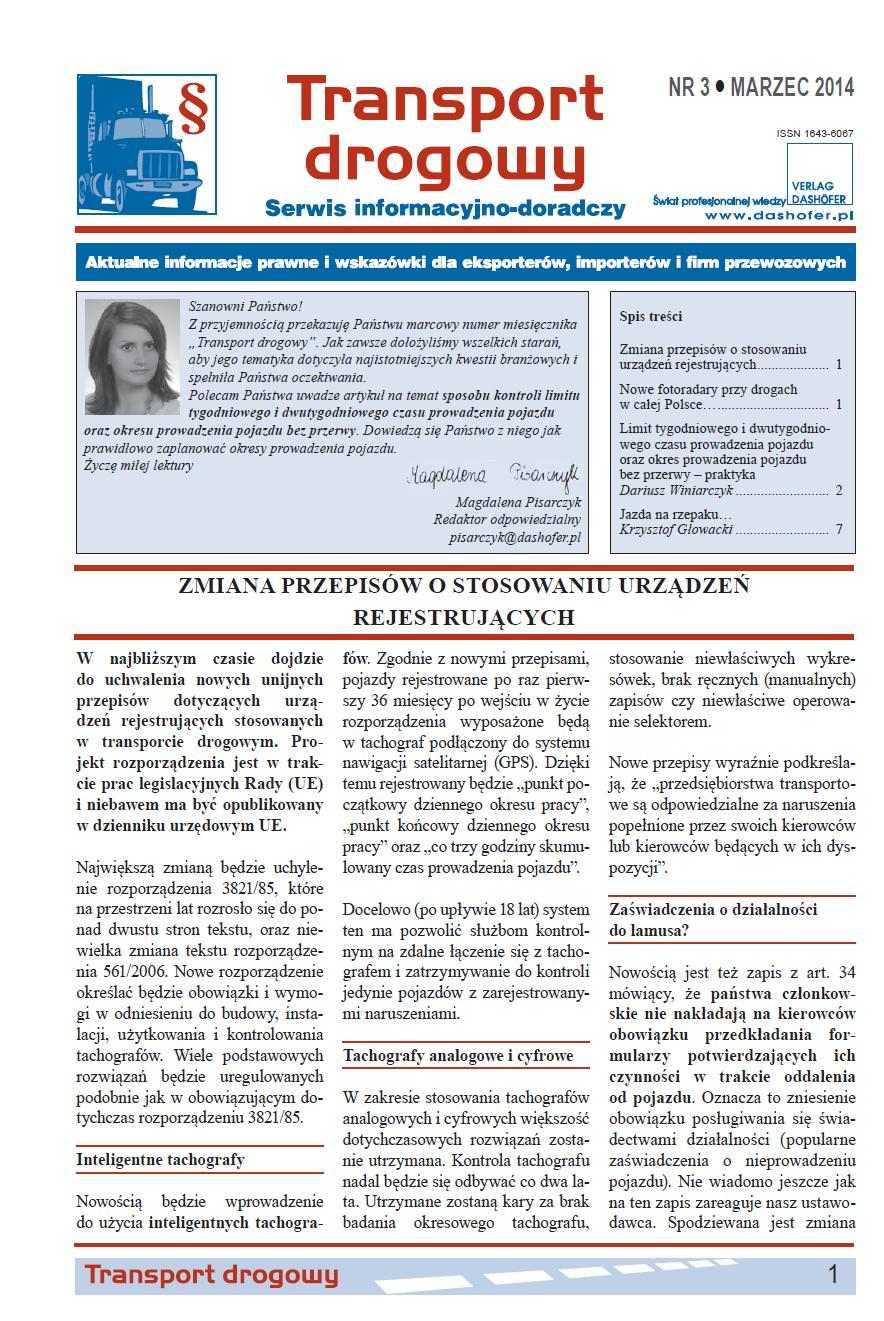 Transport drogowy. Aktualne informacje prawne i wskazówki dla eksporterów, importerów i firm przewozowych. Nr 3/2014 - Ebook (Książka PDF) do pobrania w formacie PDF