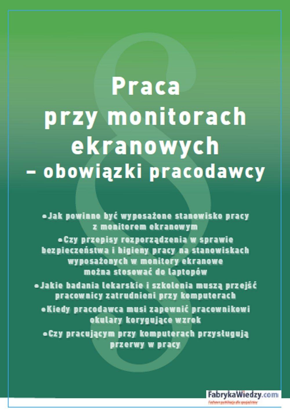 Praca przy monitorach ekranowych – obowiązki pracodawcy - Ebook (Książka PDF) do pobrania w formacie PDF