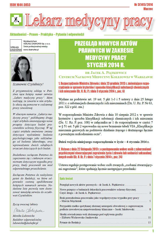 Lekarz Medycyny Pracy. Nr 3/2014 - Ebook (Książka PDF) do pobrania w formacie PDF