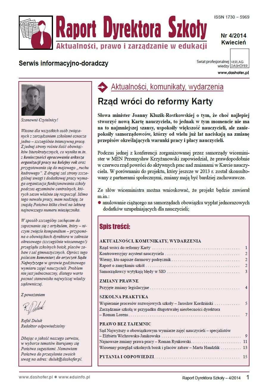 Raport Dyrektora Szkoły. Aktualności, prawo i zarządzanie w edukacji. Nr 4/2014 - Ebook (Książka PDF) do pobrania w formacie PDF